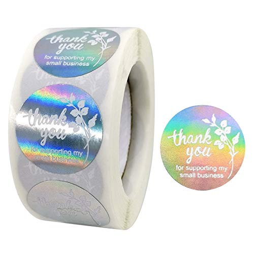BLOUR 500 Unids/Rollo Redondo Gracias por Apoyar Mis Pequeñas Empresas Pegatinas Colorido Floral Plata DIY Etiquetas Adhesivas Hechas A Mano