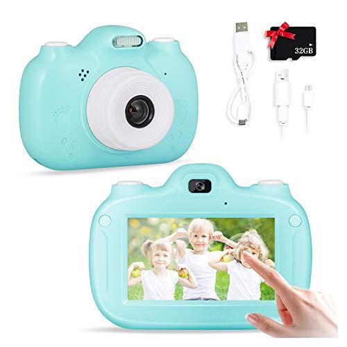 SWEET CARROT Cámara para niños, cámara digital selfie para niños, 3,0 pulgadas IPS HD 28 MP 1080P Dual Lens Pantalla táctil integrada 32 GB TF tarjeta de regalo de cumpleaños para niños