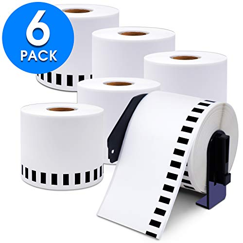 "Aegis Adhesives - Compatible DK-2205 Continuous Paper Tape (2.4"" X 100 Ft.) Replacement Labels, Compatible with Brother QL Label Printers - 6 Rolls + 1 Frame"