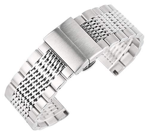 ZJSXIA Color de Plata de 22 mm Relojes Correas de Acero Inoxidable Banda de Reloj Pulsera para Mujer Reloj Reloj Reloj Reemplazo Pulsera Reloj Reloj de Reloj Correa de Reloj Correas de Reloj