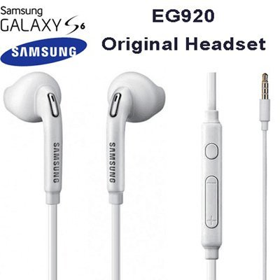 TPC© Auriculares Manos Libres Original Samsung EO-EG920LW para Galaxy S6, S7, Edge, Plus, Note 4,5, Headset Earbuds, Blanco, Retail