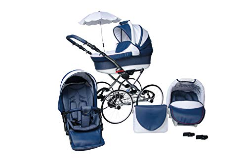 SKYLINE Klassisch Retro Stil LUX Kombi-Kinderwagen Buggy 3in1 Reise System Autositz (Isofix) (Blau/17