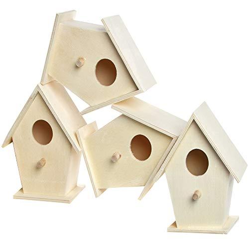Baker Ross EC1235 Mini Holz, Vogelhäuser zum Bemalen und Dekorieren für Kinder Kunst und Handwerk oder Gartenprojekte (4 Stück)