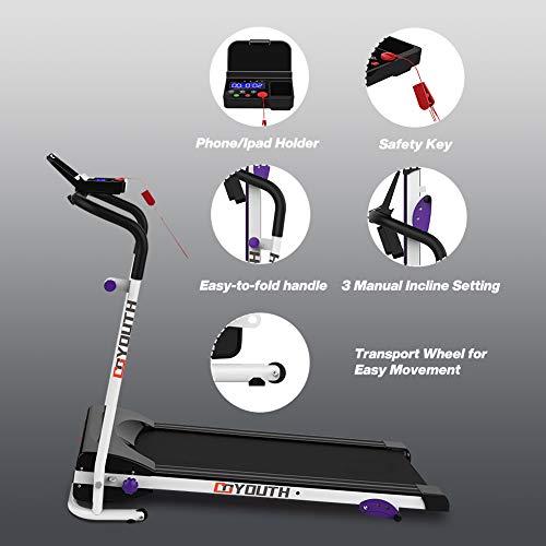 Goyouth Folding Treadmill 2.25HP Electric Motorized Running ...