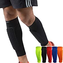HiRui Soccer Shin Guards Shin Pads for Kids Youth Adult, Calf Compression Sleeve with Honeycomb Pads, Support for Shin Splint Baseball Boxing Kickboxing MTB, Lightweight(1PAIR)(Black, L)