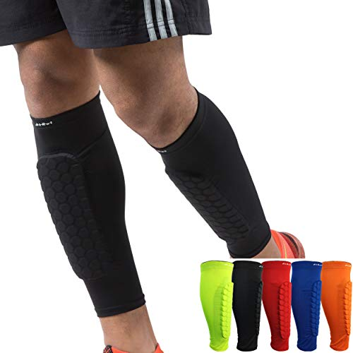 HiRui Soccer Shin Guards Shin Pads for Kids Youth Adult, Calf Compression Sleeve with Honeycomb Pads, Support for Shin Splint Baseball Boxing Kickboxing MTB, Lightweight (1PAIR) (Black, M)
