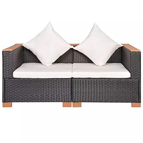 vidaXL Canapé de Jardin Canapé de Terrasse Sofa de Patio Canapé de Patio Meuble de Terrasse Meuble d'Extérieur Arrière-Cour Résine Tressée