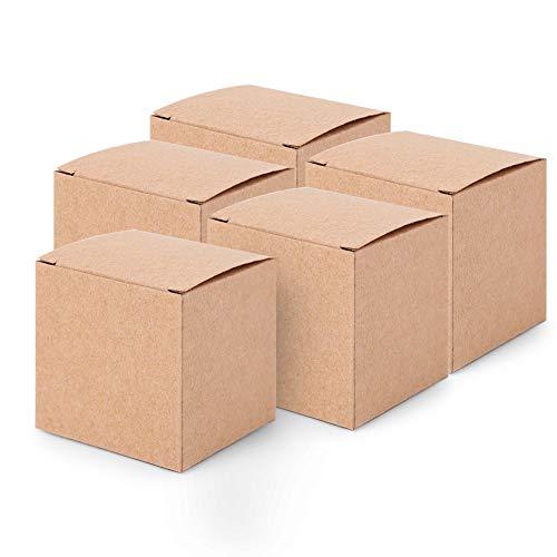 Loverly Carton Set, Caja De Regalo De Navidad Caja Cuadrada Pequeña Plegable Caja De Navidad Duradera Para Embalaje De Regalo De Vacaciones(50 cajas/juego sin cuerda de cáñamo)