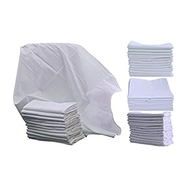 Flour Sack Kitchen Dish Towels 100% Pure Cotton Durable 28X28 Bleached Low Lint Fast Drying Commercial Grade 6 Pack