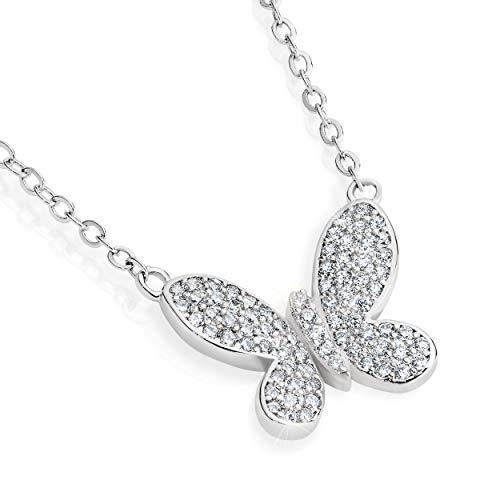 Dainty Butterfly Necklace for Women. Beautiful Necklace with 75 Simulant Diamonds. Dainty Jewelry for Women. Butterfly Jewelry.Dainty Necklaces for Girlfriend. Friendship Jewelry.