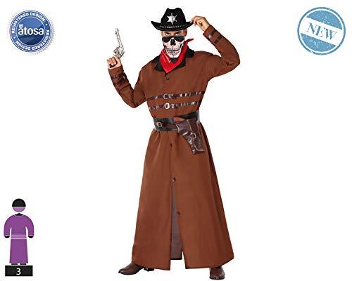 Atosa-61444 Atosa-61444-Disfraz Vaquero-Adulto Hombre, Color marrón, XL (61444
