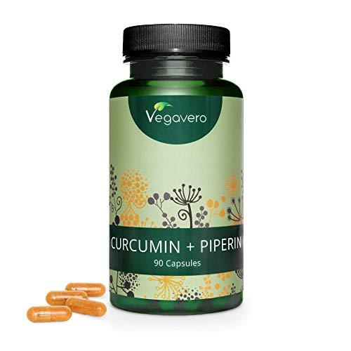 CURCUMA e PIPERINA Vegavero® | 90 capsule | Con 95% di Curcumina e Piperina | Antinfiammatorio naturale* | Vegan