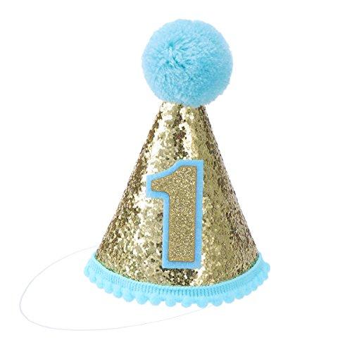 Toyvian 1 Geburtstag Kegel Hüte mit Kugel Seilen für Kinder Taufe Erste Geburtstag Party (Blau)