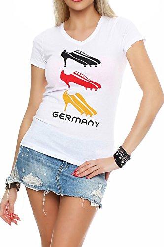 Happy Clothing Damen WM T-Shirt Deutschland Fanshirt Trikot High Heels, Größe:XS, Farbe:Weiß