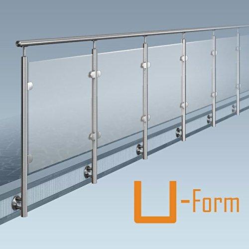 Glas-Pfosten-Geländer, U-Form (2x90° Ecke), Bausatz DIY, seitliche Montage, Länge bis 22,5 m