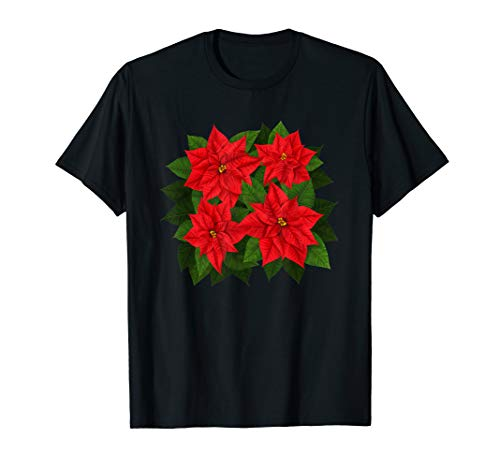 Poinsettia Red Floral Bouquet Christmas Flower Holiday Gift T-Shirt