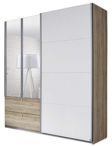 Dreh-/Schwebetürenschrank Luisa Sanremo hell/weiß 3 Türen B 181 cm Jugend Schlafzimmer Kleiderschrank Spiegeltüren Schiebetürenschrank