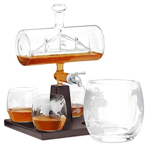 Murrano Whisky Karaffe mit Gravur - Schiff mit Edelstahl-Wasserhahn, 1000 ml - 4er Whiskygläser Set - Whisky Dekanter ohne Gravur