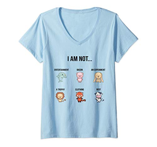 Mujer El Dicho Vegano Bienestar Animales Camiseta Cuello V