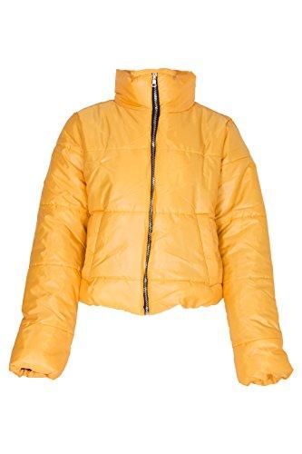 Yellow Cropped Padded Puffer Jacket
