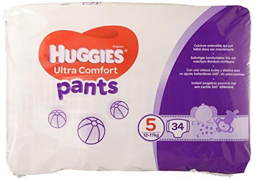 Huggies, Culottes absorbantes bébé Taille 5 (12-17 kg), Unisexe, Avec indicateur d'humidité, Pack 1 mois de consommation, Ultra Comfort Pants - Pack de 2 ( 2 x 34 culottes = 68 culottes)