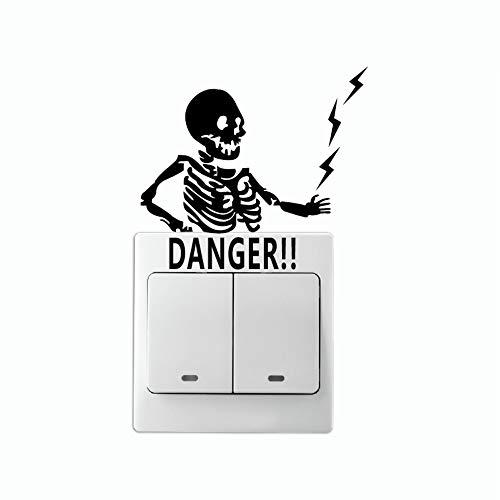 Zemn Autocollant Danger Avertissement Marée Alternative Commutateur Électrique Autocollant Dessin Animé Vinyle Stickers Muraux Décor À La Maison 2 Pièces