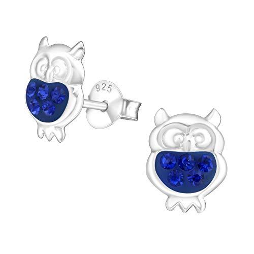 Laimons Mädchen Kids Kinder-Ohrstecker Ohrringe Kinderschmuck Eule Vogel Kauz Tier Glitzer blau aus Sterling Silber 925