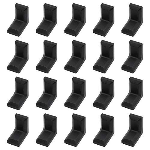 Morobor - Staffa angolare, 40 pezzi, in acciaio zincato a forma di L, con copertura in plastica ABS nera, per armadi e mensole