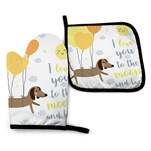 Judascepeda Oven Mitts and Pot Holders Sets I Love You Dog with Balloons and Concept Hearts Sun Clouds Puppy Best Friends Yellow Cocoa Blue Grey Oven Mitts Heat-Resistant Kitchen Set