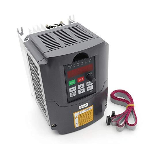 RATTMMOTOR VFD 3kW 220V 3 Phasen Frequenzumrichter CNC Wechselrichter Umrichter mit 2m Verlängerungskabel für Spindelmotor Geschwindigkeit Kontrolle Huanyang Serie