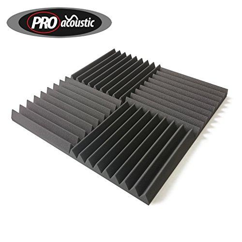 24x AFW305 Pro Acoustic Foam Wedge Tiles, Studio Sound Treatment, 2.23m2 (24 ft2) per pack