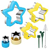 Star Cookie Cutter Molds Set, Sandwiches, Mini Pie, Fruit and Cookie Stamps Mold, 5 Different Sizes Cookie Cutters, Decorative Food for Kids, Baking and Food Supplement Tools