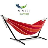 Vivere Double Cotton Hammock with Space Saving Steel Stand (450 lb Capacity - Premium Carry Bag Included) (Mimosa)