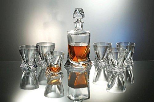 Bohemia Quadro - Set di decanter in cristallo da 500 ml, con 4 bicchieri da quadro coordinati, 340 ml
