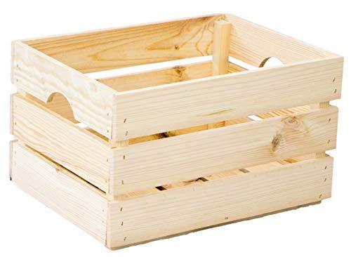 Caisse à légumes empilable Caisse en bois Caisse à vin Cagette à fruits durable certifiée FSC (40 x 30 x 23 cm, naturel)