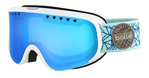 Bollé Scarlett Masque de Ski Femme, Blanc Mat/Blue Diamond, S/M