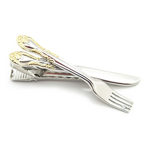 【カフスマニア】ストーンもキラリ フォークとナイフの食いしん坊なシルバーのタイピン(ネクタイピン)