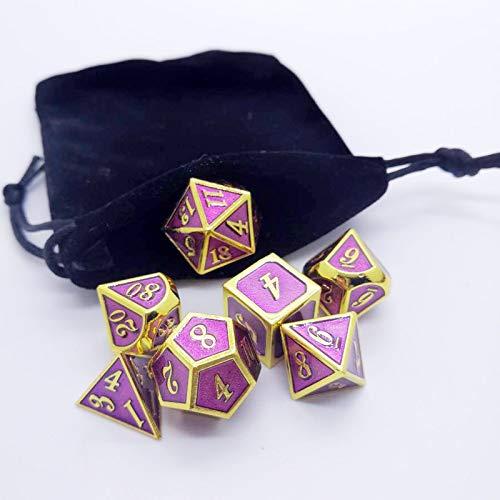PYSDWE Dados poliédricos Conjunto de Dados poliédricos de Metal sólido de 7pcs para DND Dungeons y Pathfinder Llamada para la enseñanza de matemáticas ( Color : Fjz )