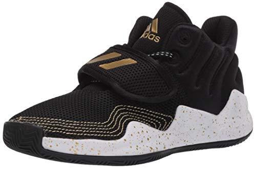 adidas Boy's Deep Threat Basketball Shoe, Black/White/Gold Metallic, 5 Big Kid