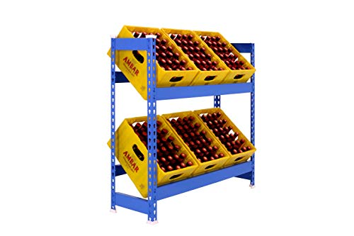 Kit SIMONBOTTLE - BOTELLERO METÁLICO 2 ESTANTES 1000x1000x300 mm Azul. Estantería para Cajas Ideal para hostelería y Comercio.