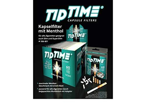 LK Trend & Style TipTime Zigarettenfilter Zigarettenhülsen Click mit Menthol Geschmack Mentholkapsel zum Aufstecken Filterhülsen mit klick (1 Päckchen mit 60 Filter + Zubehör)
