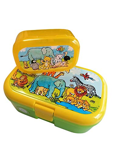 Mauder Verlag - Set porta pranzo + mini contenitore per snack – animali zootecnici e bambini – Safari, Zoo