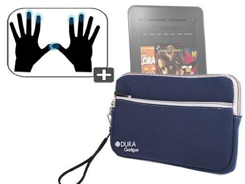 """DURAGADGET Housse étui résistant en néoprène Bleu + Gants capacitifs conducteurs Taille M (Moyen) pour Nouvelle Tablette Kindle Fire 7"""" et Fire HD d'A"""