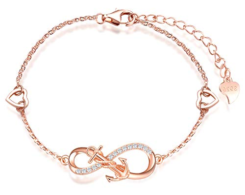 INFINIONLY Pulsera para mujer niña, pulsera de plata de ley 925, pulseras de símbolo de infinito con ancla, decorar diamantes, corazones o estrellas, zirconia, oro rosa, pulsera de ancla