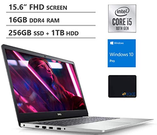 Dell Inspiron 15 5000 15.6'' FHD Business Laptop, 10th Gen Intel Quad-Core i5-1035G1, 16GB RAM, 256GB PCIe SSD + 1TB HDD, Backlit Keyboard, Fingerprint Reader, Windows 10 Pro, Silver, KKE Mouse Pad