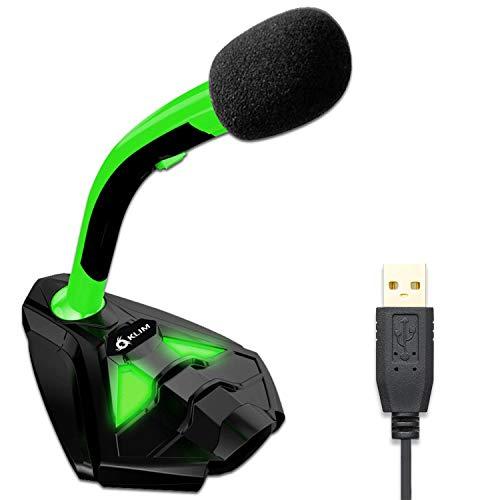 KLIM Voice Microfono Desktop USB con Stand per Computer Laptop PC – Microfono Gaming Videogiochi PS4 - Verde [ Nuova Versione 2021 ]