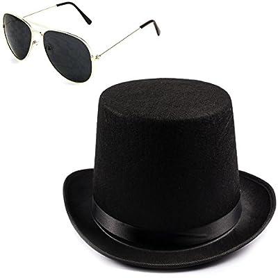 Rockstar Costume- 2 Pc Set- Black Felt Top Hat and Sunglasses- 80s costumes- Rocker Accessories