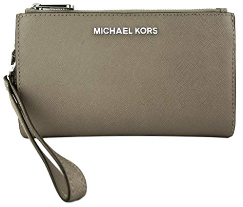 Michael Kors Jet Set Travel Double Zip Saffiano Leather Wristlet Wallet (Pearl Grey), Medium