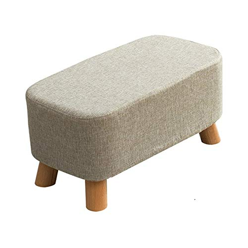 FLYFASH Upholstered Stool, Linen Fabric Footstool Square Pouffe Stool Change Shoe Footrest Wooden Legs For Living Room Bedroom Gray