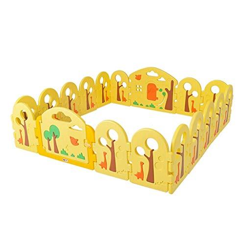 NQ-ChongTian Valla for bebés, niños Que gatean Valla de Seguridad Resistente a los Golpes for niños pequeños - Valla Forestal 12 Piezas pequeñas + Barra de Puerta + Barra de Juguete + Caballo mecedo